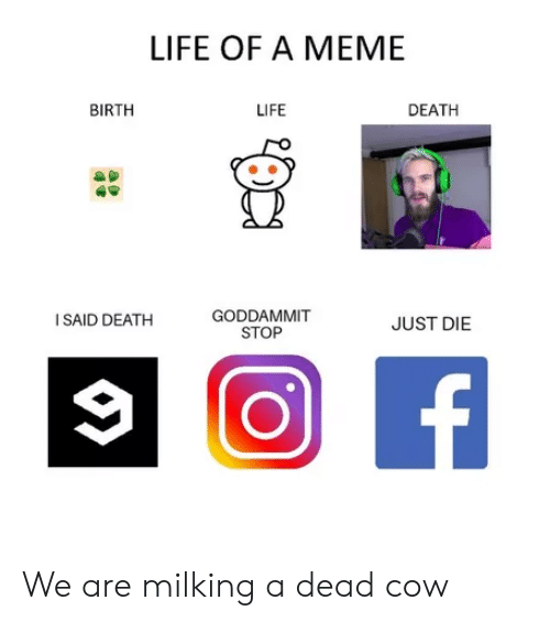 Life, Meme, and Death: LIFE OF A MEME  BIRTH  LIFE  DEATH  GODDAMMIT  STOP  I SAID DEATH  JUST DIE We are milking a dead cow