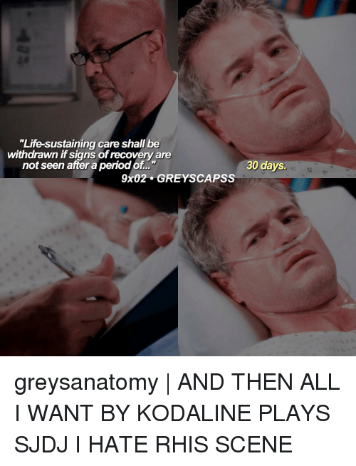 "sustainability: ""Life-sustaining care shall be  withdrawn if signs ofrecovery are  30 days.  not seen after a period of  9x02 GREY SCAPSS greysanatomy 
