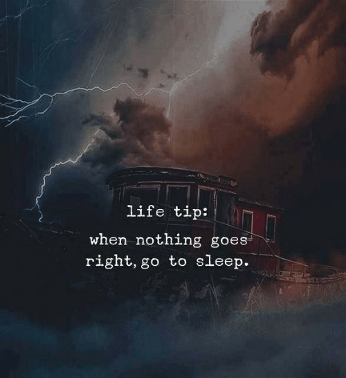 go to sleep: life tip:  when nothing goes  right, go to sleep.