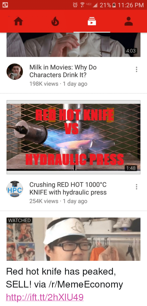 """Movies, Http, and Rei: LIG- 4111 21 %  11:26 PM  4:03  Milk in Movies: Why Do  Characters Drink It?  198K views 1 day ago  REI HOT KNI  VS  HYDRAULIC PRESS  1:48  Crushing RED HOT 1000°C  KNIFE with hydraulic press  254K views 1 day ago  HPC  WATCHED <p>Red hot knife has peaked, SELL! via /r/MemeEconomy <a href=""""http://ift.tt/2hXlU49"""">http://ift.tt/2hXlU49</a></p>"""