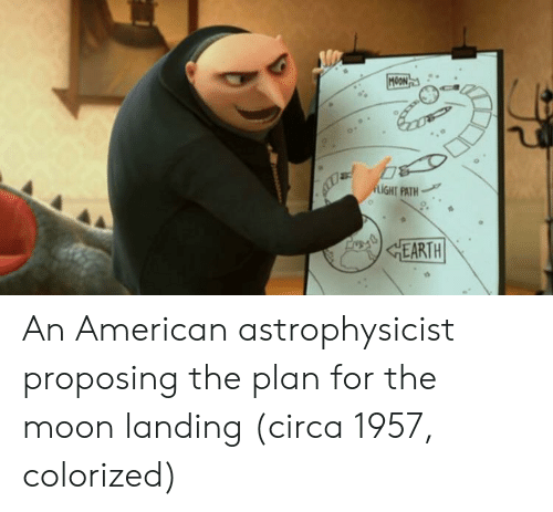 proposing: LIGHT PATH  EARTH An American astrophysicist proposing the plan for the moon landing (circa 1957, colorized)