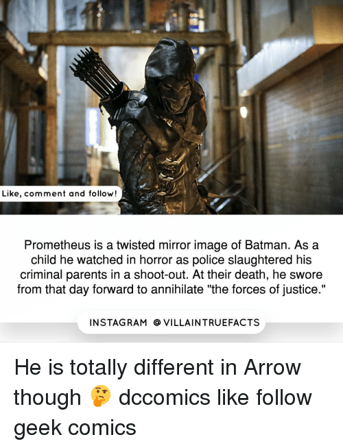 """Criminations: Like, comment and follow!  Prometheus is a twisted mirror image of Batman. As a  child he watched in horror as police slaughtered his  criminal parents in a shoot-out. At their death, he swore  from that day forward to annihilate """"the forces of justice.""""  IN STAG RAM O VILLAINTRUEFACTS He is totally different in Arrow though 🤔 dccomics like follow geek comics"""