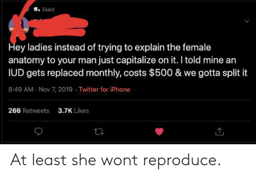 Iphone, Tumblr, and Twitter: liked  Hey ladies instead of trying to explain the female  anatomy to your man just capitalize on it. I told mine an  IUD gets replaced monthly, costs $500 & we gotta split it  8:49 AM Nov 7, 2019 Twitter for iPhone  266 Retweets  3.7K Likes At least she wont reproduce.