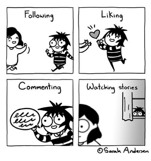 Memes, 🤖, and Following: Liking  Following  Watching stories  Commenting  OSaah Andersen