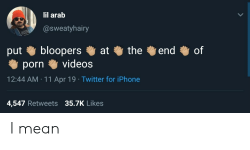 Arab: lil arab  @sweatyhairy  bloopers  videos  the  end  of  at  put  porn  12:44 AM 11 Apr 19 Twitter for iPhone  4,547 Retweets 35.7K Likes I mean