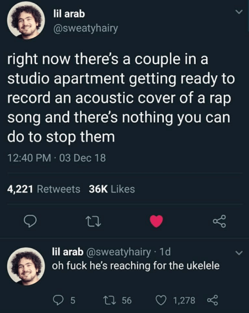 Cover: lil arab  @sweatyhairy  right now there's a couple in a  studio apartment getting ready to  record an acoustic cover of a rap  song and there's nothing you can  do to stop them  12:40 PM · 03 Dec 18  4,221 Retweets 36K Likes  27  lil arab @sweatyhairy · 1d  oh fuck he's reaching for the ukelele  27 56  1,278