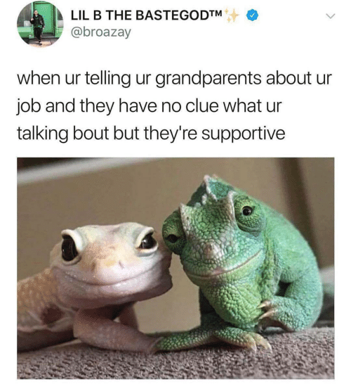 supportive: LIL B THE BASTEGODTM  @broazay  when ur telling ur grandparents about ur  job and they have no clue what ur  talking bout but they're supportive