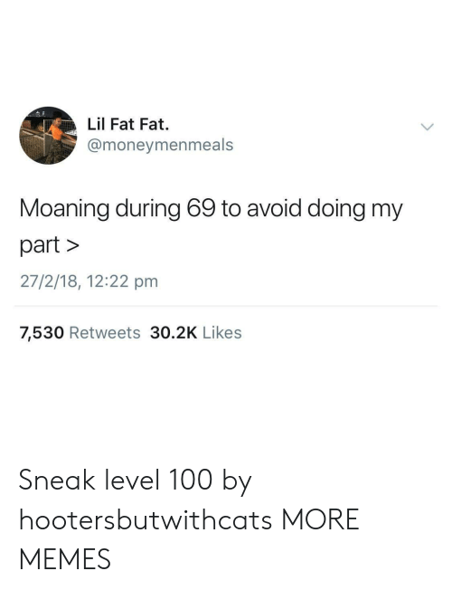 Anaconda, Dank, and Memes: Lil Fat Fat.  @moneymenmeals  Moaning during 69 to avoid doing my  part>  27/2/18, 12:22 pm  7,530 Retweets 30.2K Likes Sneak level 100 by hootersbutwithcats MORE MEMES