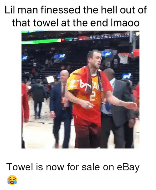 eBay, Sports, and Hell: Lil man finessed the hell out of  that towel at the end Imaoo Towel is now for sale on eBay 😂