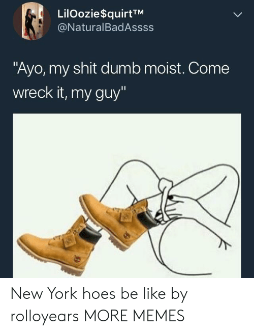 "Hoes Be: LilOozie$quirtTM  @NaturalBadAssss  ""Ayo, my shit dumb moist. Come  wreck it, my guy"" New York hoes be like by rolloyears MORE MEMES"