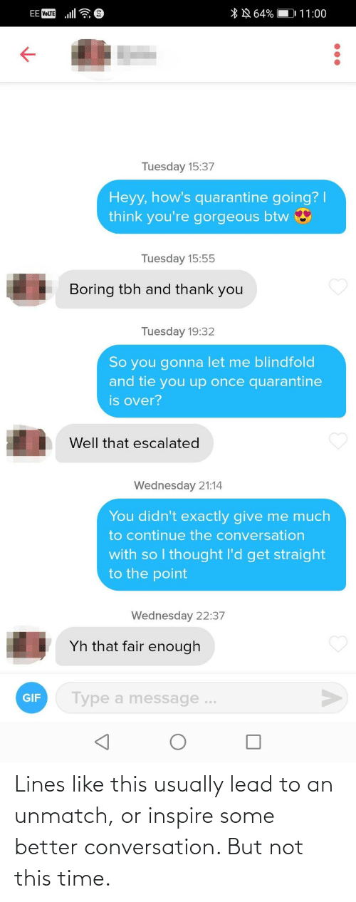 lines: Lines like this usually lead to an unmatch, or inspire some better conversation. But not this time.