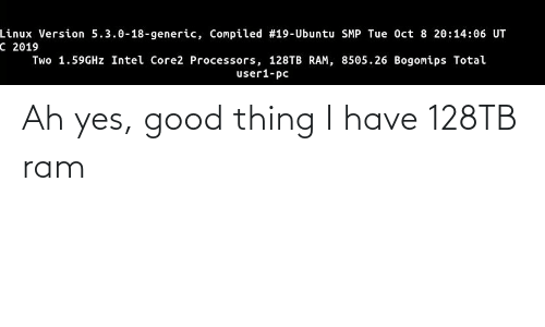 Compiled: Linux Version 5.3.0-18-generic, Compiled #19-Ubuntu SMP Tue Oct 8 20:14:06 UT  C 2019  Two 1.59GHZ Intel Core2 Processors, 128TB RAM, 8505.26 Bogomips Total  user1-pc Ah yes, good thing I have 128TB ram