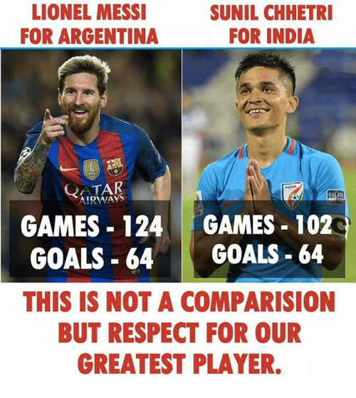 Goals, Memes, and Respect: LIONEL MESSI  FOR ARGENTINA  SUNIL CHHETRI  FOR INDIA  QATAR  AIRWAYS  INDIA  GAMES 124 GAMES 102  GOALS-64 GOALS-64  THIS IS NOT A COMPARISION  BUT RESPECT FOR OUR  GREATEST PLAYER.
