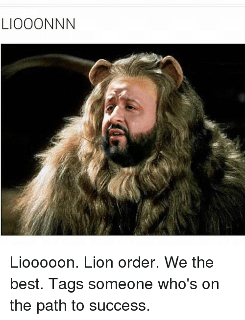 Lion Order: LIOOONNN Liooooon. Lion order. We the best. Tags someone who's on the path to success.