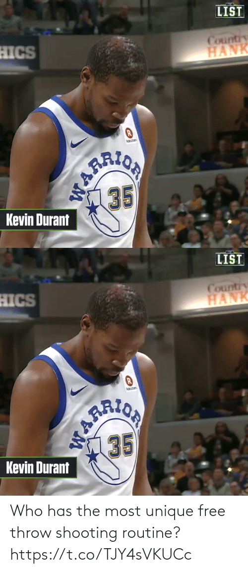 durant: LIST  HICS  Country  HANK  laten  ARION  35  Kevin Durant  WARR   LIST  HICS  Country  HANK  lotan  PRION  AR  35  Kevin Durant Who has the most unique free throw shooting routine?  https://t.co/TJY4sVKUCc