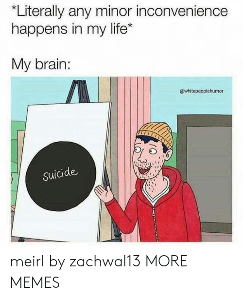Minor Inconvenience: *Literally any minor inconvenience  happens in my life*  My brain:  @whitepeoplehumor  Suicide meirl by zachwal13 MORE MEMES