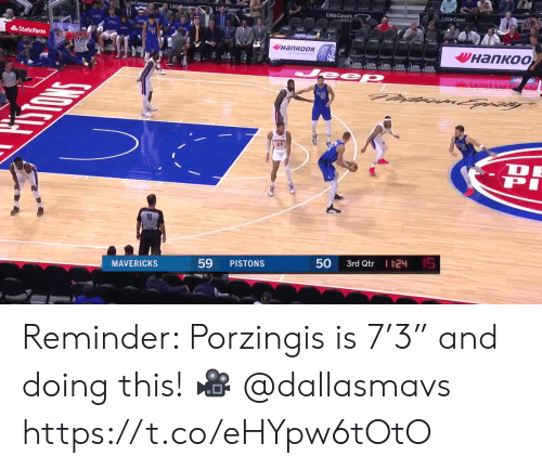 """Memes, State Farm, and 🤖: Littl  LC  Litle Caesar  Lirtle Caes  State Farm  инапкоок  Vнапкоо  ALinte Lle  eep  NANES  PHOW  23  15  I 124  MAVERICKS  PISTONS  3rd Qtr  50  59 Reminder: Porzingis is 7'3"""" and doing this!   🎥 @dallasmavs https://t.co/eHYpw6tOtO"""
