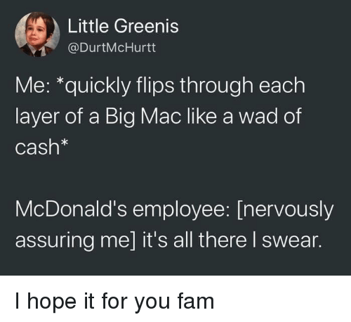 assuring: Little Greenis  @DurtMcHurtt  Me: *quickly flips through each  layer of a Big Mac like a wad of  Cash*  McDonald's employee: [nervously  assuring me] it's all there I swear. I hope it for you fam