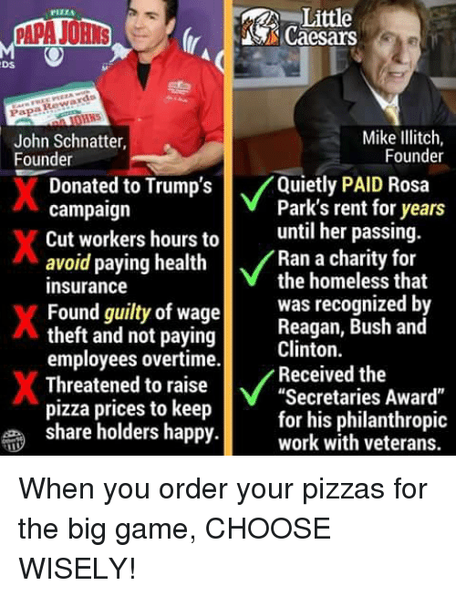 """Homeless, Pizza, and Rosa Parks: Little  S Caesars  PIZZA  Ds  Papa Rewards  John Schnatter,  Founder  Mike Ilitch,  Founder  Donate  d to Trump's  /Quietly PAID Rosa  Park's rent for years  campaign  Cut workers hours tountil her passing  avoid paying health  insurance  Found guilty of wage  theft and not paying  employees overtime.  Threatened to raise  pizza prices to keep  share holders happy  Ran a charity for  the homeless that  was recognized b  Reagan, Bush and  Clinton.  Received the  Secretaries Award""""  for his philanthropic  work with veterans. When you order your pizzas for the big game, CHOOSE WISELY!"""