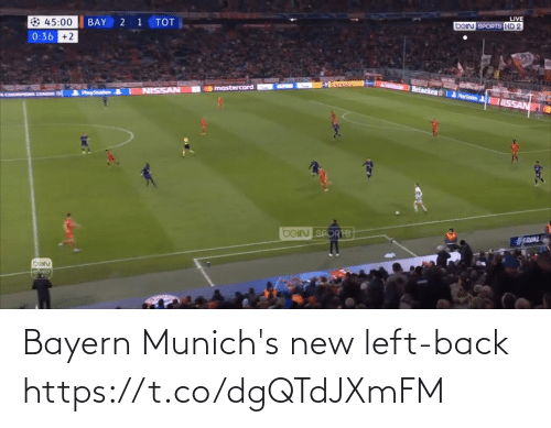 Sage: LIVE  bein SPORTS HD 2  45:00  BAY  тOт  0:36 +2  mastercard  NISSAN  PayStation  SAGE &  ISSAN  beIN SPORTB  EQUAL  barn Bayern Munich's new left-back https://t.co/dgQTdJXmFM