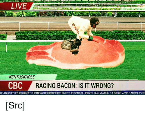 Morality: LIVE  KENTUCKHOLE  CBC  RACING BACON: IS IT WRONG?  HE JUNIOR OFFICER DESCRIBED THE SCENE AS THE SCRONTCHIEST CLUSTER OF PARTICLES HE'D SEEN IN Vr' YEARS ON THE QUINCE MAYOR FLAMGATE STATE [Src]
