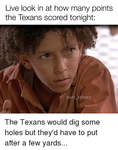 Meme, Memes, and Nfl: Live look in at how many points  the Texans scored tonight:  @NFL MEMES The Texans would dig some holes but they'd have to put after a few yards...