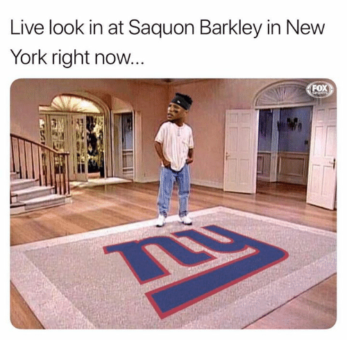 New York, Nfl, and Live: Live look in at Saquon Barkley in New  York right now