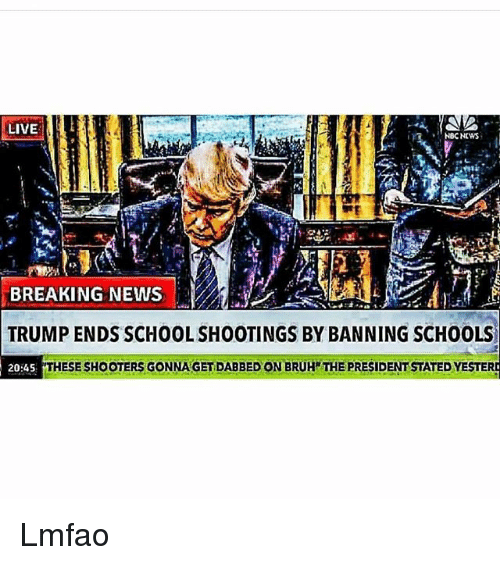 Dabbed: LIVE  NBC NEWS  BREAKING NEWS  TRUMP ENDS SCHOOL SHOOTINGS BY BANNING SCHOOLS  20:45  THESE SHOOTERS GONNA GET DABBED ON BRUH THE PRESIDENT STATED YESTER Lmfao