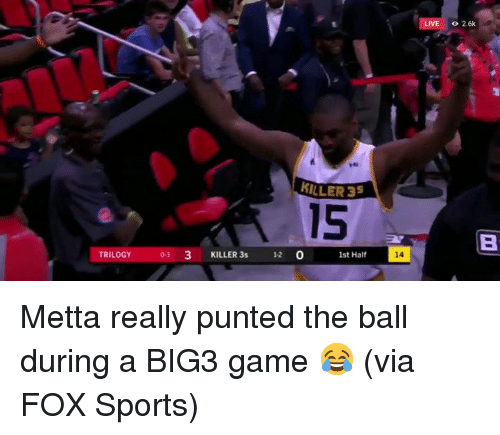 Sports, Game, and Live: LIVE  o 2.6k  2  MILLER 35  15  KILLER 3s 12 0  st Half  14  TRILOGY  0-3 Metta really punted the ball during a BIG3 game 😂  (via FOX Sports)