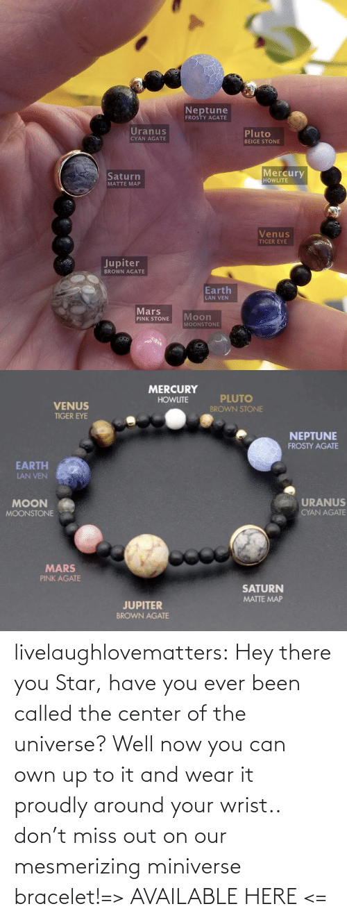 Center: livelaughlovematters:  Hey there you Star, have you ever been called the center of the universe? Well now you can own up to it and wear it proudly around your wrist.. don't miss out on our mesmerizing miniverse bracelet!=> AVAILABLE HERE <=