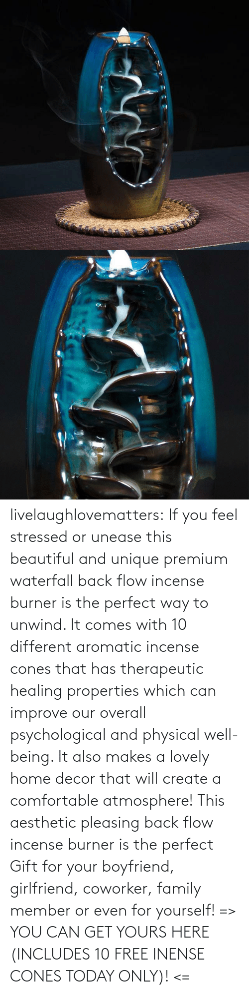 M 1: livelaughlovematters: If you feel stressed or unease this beautiful and unique premium waterfall back flow incense burner is the perfect way to unwind. It comes with 10 different aromatic incense cones that has therapeutic healing properties which can improve our overall psychological and physical well-being. It also makes a lovely home decor that will create a comfortable atmosphere! This aesthetic pleasing back flow incense burner is the perfect Gift for your boyfriend, girlfriend, coworker, family member or even for yourself! => YOU CAN GET YOURS HERE (INCLUDES 10 FREE INENSE CONES TODAY ONLY)! <=