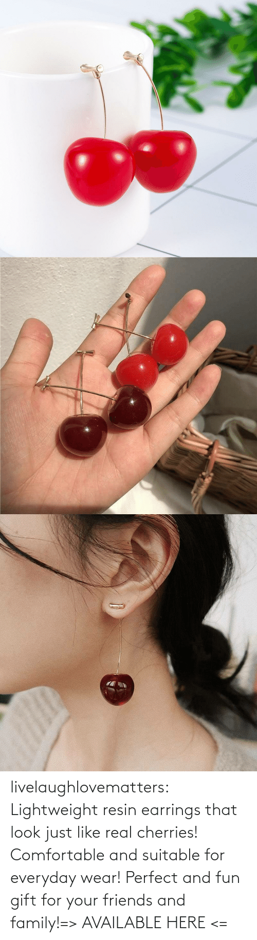 fun: livelaughlovematters:  Lightweight resin earrings that look just like real cherries! Comfortable and suitable for everyday wear! Perfect and fun gift for your friends and family!=> AVAILABLE HERE <=