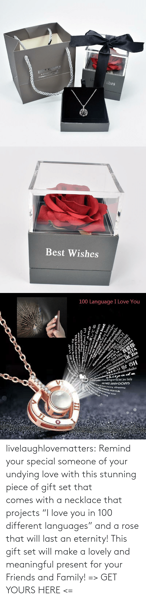 "you: livelaughlovematters:  Remind your special someone of your undying love with this stunning piece of gift set that comes with a necklace that projects ""I love you in 100 different languages"" and a rose that will last an eternity! This gift set will make a lovely and meaningful present for your Friends and Family! => GET YOURS HERE <="