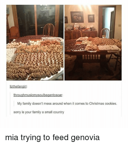 Christmas, Cookies, and Family: lizthefangir  My family doesn't mess around when it comes to Christmas cookies  sorry is your family a small country mia trying to feed genovia