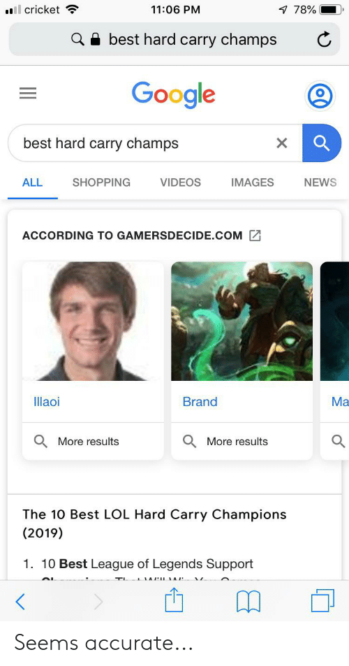 Google, League of Legends, and Lol: ll cricket  11:06 PM  7 78%  best hard carry champs  Google  best hard carry champs  X  SHOPPING  VIDEOS  IMAGES  ALL  NEWS  ACCORDING TO GAMERSDECIDE.COM  llaoi  Brand  Ma  More results  More results  The 10 Best LOL Hard Carry Champions  (2019)  1. 10 Best League of Legends Support Seems accurate...