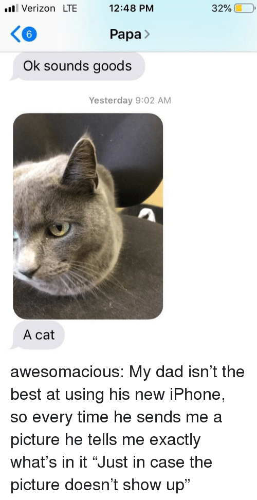"Goods: ll Verizon LTE  12:48 PM  32%  6  Papa>  Ok sounds goods  Yesterday 9:02 AM  A cat awesomacious:  My dad isn't the best at using his new iPhone, so every time he sends me a picture he tells me exactly what's in it ""Just in case the picture doesn't show up"""