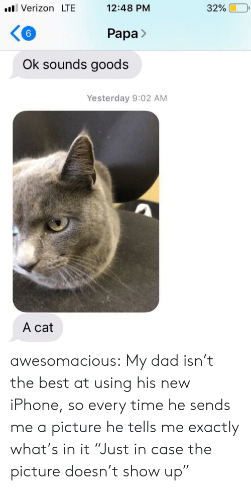 """New Iphone: ll Verizon LTE  12:48 PM  32%  6  Papa>  Ok sounds goods  Yesterday 9:02 AM  A cat awesomacious:  My dad isn't the best at using his new iPhone, so every time he sends me a picture he tells me exactly what's in it """"Just in case the picture doesn't show up"""""""