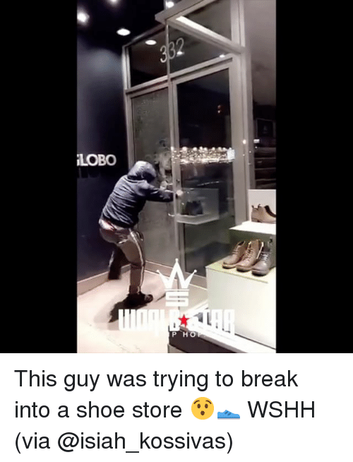Memes, Wshh, and Break: LOBO  P HO This guy was trying to break into a shoe store 😯👟 WSHH (via @isiah_kossivas)