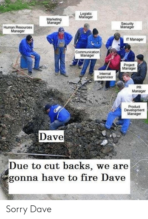 supervisor: Logistic  Mañager  Marketing  Manager  Security  Manager  Human Resources  Manager  IT Manager  Communication  Manager  Project  Manager  Internal  Supervisor  PR  Manager  Product  Development  Manager  Dave  Due to cut backs, we are  gonna have to fire Dave Sorry Dave