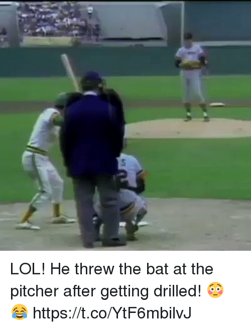 Lol, Memes, and 🤖: LOL! He threw the bat at the pitcher after getting drilled! 😳😂 https://t.co/YtF6mbilvJ