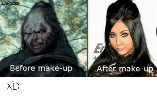 make up: LOLPIX.com  E  After make-up  Before make-up XD
