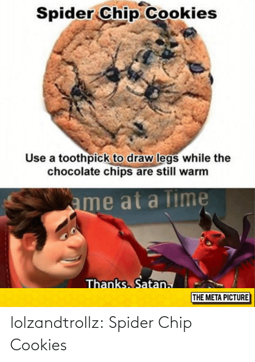 Spider: lolzandtrollz:  Spider Chip Cookies