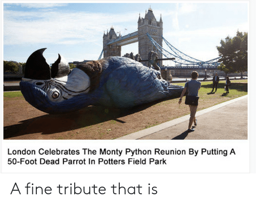 Tribute: London Celebrates The Monty Python Reunion By Putting A  50-Foot Dead Parrot In Potters Field Park A fine tribute that is