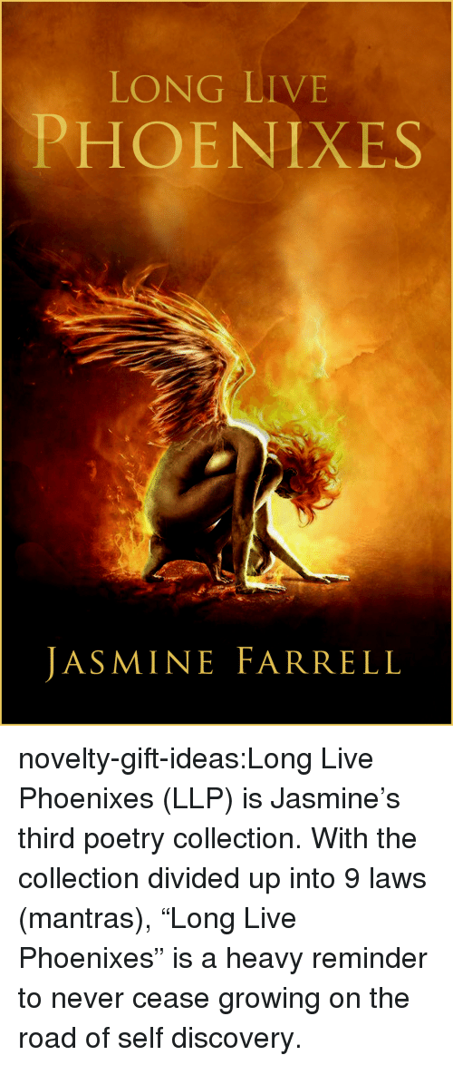 """self discovery: LONG LIVE  PHOENIXES  JASMINE FARRELL novelty-gift-ideas:Long Live Phoenixes (LLP)   is Jasmine's third poetry collection. With the collection divided up into 9 laws (mantras), """"Long Live Phoenixes"""" is a heavy reminder to never cease growing on the road of self discovery."""