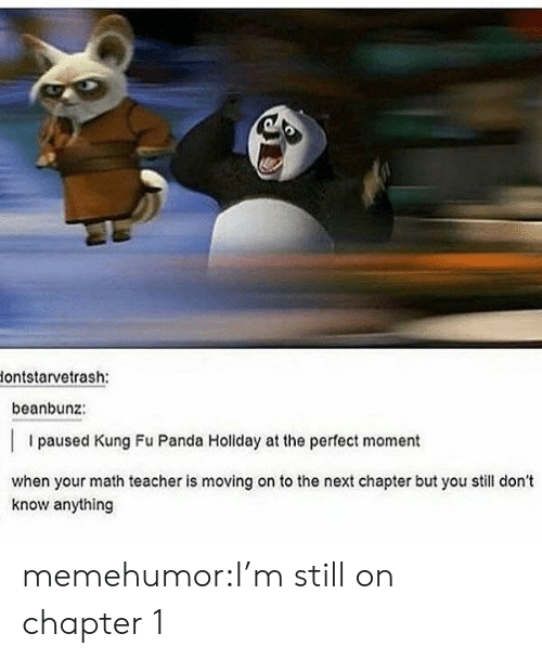 Kung Fu Panda: lontstarvetrash:  beanbunz:  I paused Kung Fu Panda Holiday at the perfect moment  when your math teacher is moving on to the next chapter but you still don't  know anything memehumor:I'm still on chapter 1
