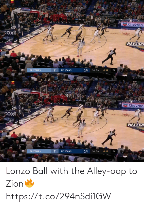 oop: Lonzo Ball with the Alley-oop to Zion🔥 https://t.co/294nSdi1GW