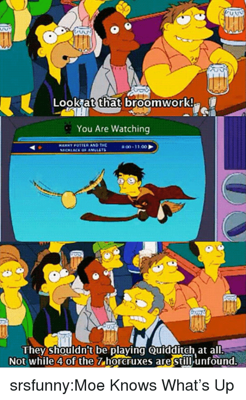 Moe.: Look at that broomwork!  You Are Watching  HAMNY POTTER AND THE  they shouldn't be playing Quidditch at all  Not while 4 of the  7 horcruxes are still unfound. srsfunny:Moe Knows What's Up