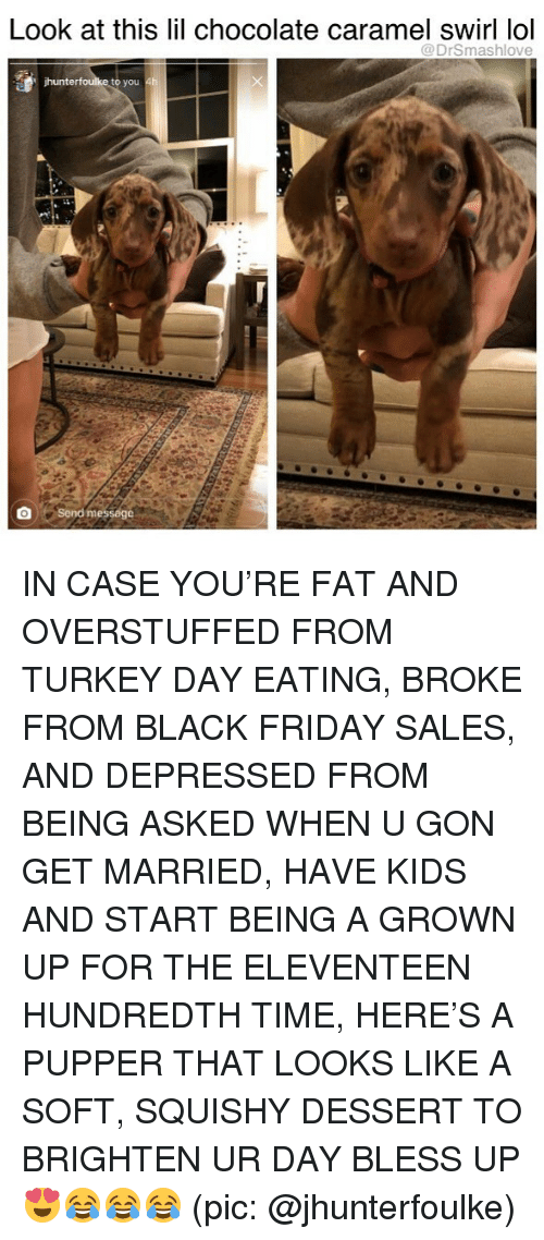 turkey day: Look at this lil chocolate caramel swirl lol  @DrSmashlove  hunter  to you 4  send message  , IN CASE YOU'RE FAT AND OVERSTUFFED FROM TURKEY DAY EATING, BROKE FROM BLACK FRIDAY SALES, AND DEPRESSED FROM BEING ASKED WHEN U GON GET MARRIED, HAVE KIDS AND START BEING A GROWN UP FOR THE ELEVENTEEN HUNDREDTH TIME, HERE'S A PUPPER THAT LOOKS LIKE A SOFT, SQUISHY DESSERT TO BRIGHTEN UR DAY BLESS UP 😍😂😂😂 (pic: @jhunterfoulke)