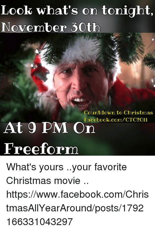 Countdown To Christmas Meme.Look What S On Tonight November 30th Countdown To Christmas