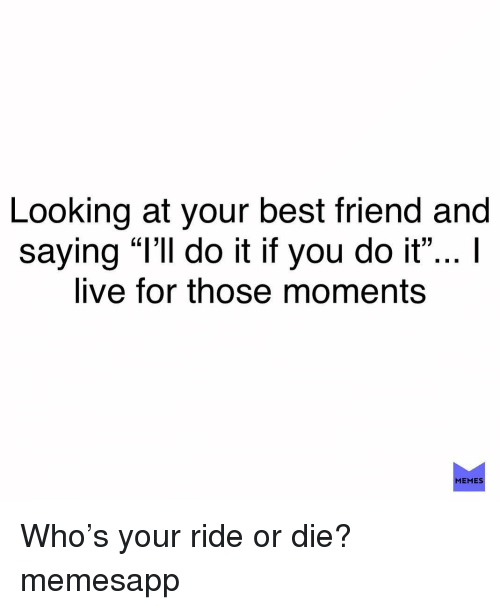 """Best Friend, Memes, and Best: Looking at your best friend and  saying """"l'Il do it if you do it""""... I  live for those moments  (L13  MEMES Who's your ride or die? memesapp"""